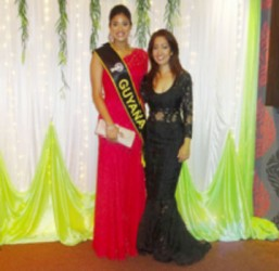 Miss India Guyana 2013 Katerina Roshana (left), who is slated to be a future hostess on the show, poses with Apsara CEO Chandini Rambalak