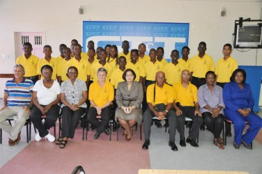 Members of the visiting Combermere Secondary School of Barbados.