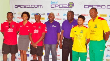 Members of the head table, from left Tobago's Red Steel Head Coach Gordon Greenidge, Digicel Head of Marketing, Jacqueline James, Red Steel's skipper, Dwayne Bravo, Event Operations Officer of the LCPL, Alex Graham, Limacol Brand Ambassador Clive Lloyd, Amazon Warriors Captain Ramnaresh Sarwan and Amazon Warriors Head Coach Roger Harper.