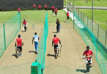 The Red Steel boys at net sessions in the nets yesterday.