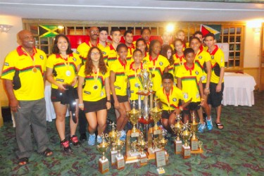 Overall Team title winners Guyana pose with their haul