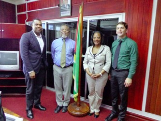 From left: John Yearwood, Prime Minister Sam Hinds, Alison Bethel McKenzie and Scott Griffen at the PM's office (IPI photo)