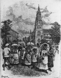 Creoles and others coming from mass at the Roman Catholic Cathedral, circa 1888
