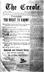 The front page of an edition of the Creole, the longest surviving newspaper reflecting the concerns of the Creoles