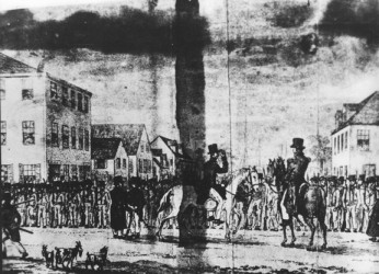 Troops mustering at Main and Homes Streets in 1823 before going up the East Coast to put down the rebellion