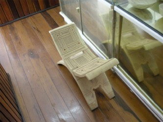 A carved stool on display at the Museum of African Heritage