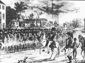 The Demerara Cavalry mustering outside the Royal Hotel in what is now Avenue of the Republic during the 1823 Rising