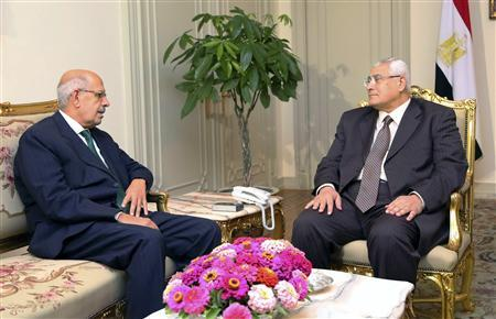 Egypt's interim President Adli Mansour (R) meets with opposition leader and former U.N. nuclear agency chief Mohamed ElBaradei at El-Thadiya presidential palace in Cairo in this handout picture dated July 6, 2013. REUTERS/Egyptian Presidency/Handout