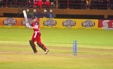 Kevin O' Brien of the Trinidad and Tobago Red Steel is bowled by Man of the match Krishmar Santokie.