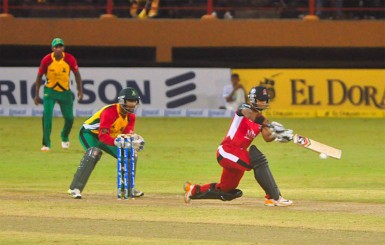 Nicholas Pooran on the attack during his aggressive half century for the Trinidad and Tobago's Red Steel