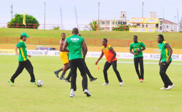 Tallawahs player Ahmad Shahzad in action during football practice