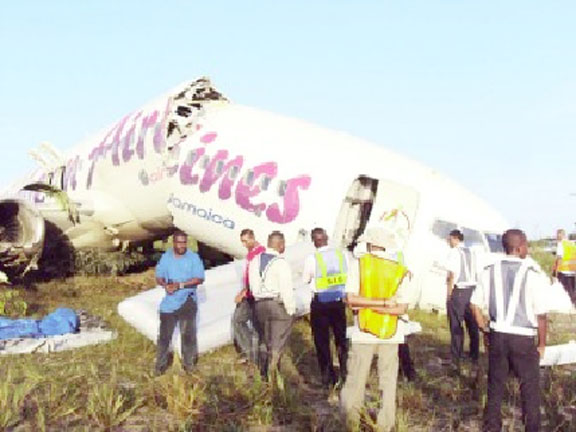 The broken plane (Stabroek News file photo)