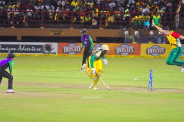KEY WICKET! An airborne James Franklin appeals as danger man Chris Gayle is found short of the crease. (Orlando Charles photo)