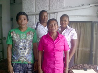 Concerned: From left to right, Chinese Landing vice-toshao Herman La Cruz, Treasurer Veron Millington, councilor Emelda Fernandes and Toshao Nikita Miller.