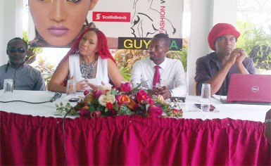 From left are Russel Lancaster, Guyana Fashion Week CEO Sonia Noel, Compton Bobb, Marketing Manager Giftland OfficeMax and Richard Younge