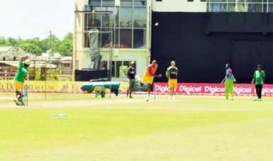 The Tallawahs going through some fielding drills yesterday.