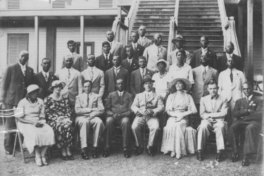 Members of the executive of the British Guiana Teachers' Association (BGTA) (now the Guyana Teachers' Union) after the reception at Government House, Georgetown on the occasion of the BGTA Golden Jubilee (1884-1934) celebrations.  Front row from left: Miss G Paul (Treasurer); Mrs LG Crease; Mr LG Crease (Director of Education, (ag)); Mr FH Pollard (President); Sir C Douglas-Jones; Lady Douglas-Jones; Mr RS Ducker; Mr Z O Gill (Secretary) Middle row from left: Mr JW Jackson; Mr EF Archer; Mr J Harper; Mr LB Russell; Mr JW Scott; Mr EM Storey; Miss F Jenkins; Miss M John; Mr CA Williams; Mr GW Forsythe Back row from left: Mr D Boodhoo; Mr A Baburam; Mr GF Armstrong; Mr H Haynes; Mr EL Dolphin; Mr HD Durant; Mr GHA Bunyan; Mr CM Gibbs (Vice-President); Mr AD Noble; Mr CB Wilson