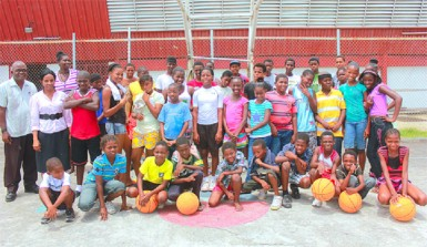 Participants of the Pepsi Sonics Basketball Club's annual boys and girls' summer camp
