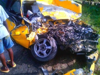 The wrecked car