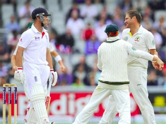 Ryan Harris has Jonathan Trott caught behind for two to leave England in a spot of bother before rain came to their rescue. (Cricket 365 photo)
