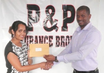 Accounts Executive of P & P Insurance Brokers Limited Samantha Singh hands over the cheque to GTTA president Godfrey Munroe.