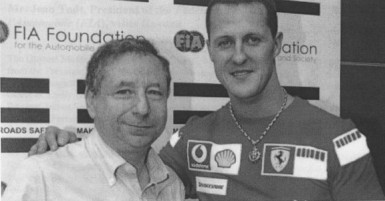 Seven-time Formula 1 World Champion, Michael Schumacher (right) and Jean Todt (left).