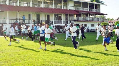 Some of the players engaging in fitness drills under the watchful eye of facilitator Garvin Nedd.
