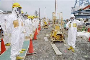 Members of a Fukushima prefecture panel, which monitors the safe decommissioning of the nuclear plant, inspect the construction site of the shore barrier, which is meant to stop radioactive water from leaking into the sea, near the No.1 and No.2 reactor building of the tsunami-crippled Fukushima Daiichi nuclear power plant in Fukushima, in this photo released by Kyodo August 6, 2013. REUTERS/Kyodo