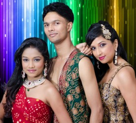 Naya Zamana dancers from left to right Tonya Singh,  Rishi Dubraj and Gina Arjoon.
