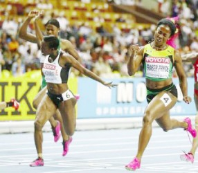 Shelly Ann Fraser-Pryce sprints to victory in the women's 100m at the IAAF World Championships yesterday. (Reuters photo)
