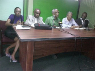 From right are APNU Shadow Minister of Works Joseph Harmon, APNU MP Rupert Roopnaraine, Opposition Leader David Granger, APNU MP and Spokesperson on Finance Carl Greenidge and APNU PRO Malika Ramsey