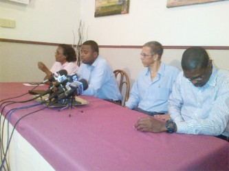 From left: AFC Member Beverly Alert, AFC MP Trevor Williams, AFC Executive Member Dominic Gaskin, and AFC General Secretary David Patterson at Wednesday's press conference.