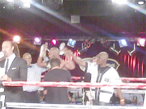 Caribbean Boxing Federation (CABOFE) and local super middleweight champion, Lennox '2 Sharpe' Allen is declared the winner in the six-round 168-pound contest against Michael 'The Amazing' Gbenga in Wednesday's bout in New York, USA.
