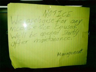 This is one of the makeshift notices which was posted on both doors of KFC's Stabroek outlet