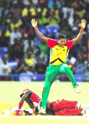 Guyana's Amazon Warriors will be looking to jump over the hurdle that is the Trinidad Red Steel team in tonight's first semi-final game of the Limacol Caribbean Premier League. (Photo courtesy of CPLT20.com)