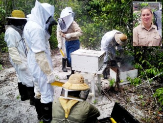 Amy Weeks (inset) with local beekeepers