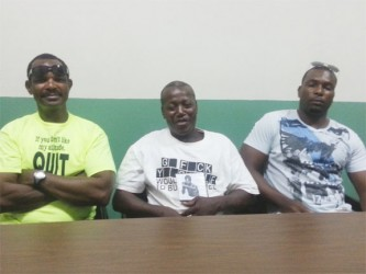 Carl Goulding, left, Terrence Alli, centre and Omatolalong Goulding at the press conference on Thursday.