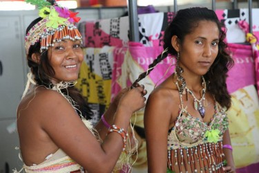 Guyanese Amerindians preparing for a cultural performance at Independence Square on August 23.