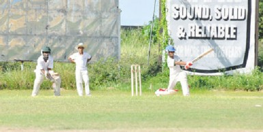 Everest Sports Club batsman, Yeudistir Persaud during his gritty innings of 12.