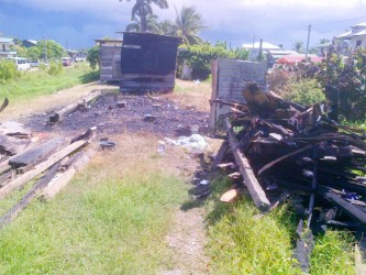 The remains of the shack had already been cleared and packed when Stabroek News visited yesterday afternoon