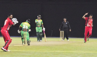 Anthony Bramble is bowled by Man of the match winner Rayad Emrit.