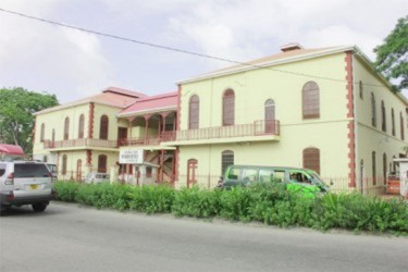 The Georgetown Magistrates' Court complex at the corners of Brickdam and Avenue of the Republic has been undergoing repairs for two years. (Stabroek News file photo)