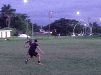 Players from the national rugby team in a simulation game yesterday at the National Park rugby field.
