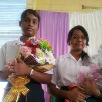Top students: From left Anna Regina Multilateral students Zameean Rasheed, top student and Yogeeta Persaud.  They wrote 20 and 18 subjects respectively at this year's sitting of CSEC.