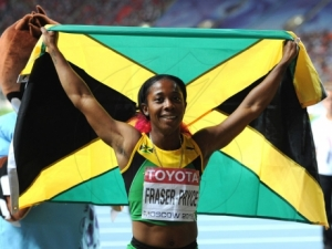 Shelly-Ann Fraser-Pryce after the victory (Jamaica Gleaner photo)