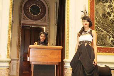 Keisha Edwards describing her design at The White House on Wednesday June 26 2013 this event was to commemorate National Caribbean American Heritage Month