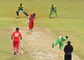 The Red Force batting against Guyana