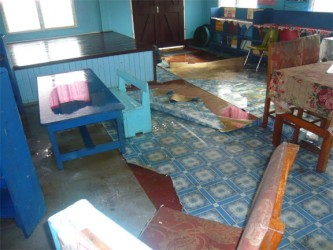 The damaged interior of the Shieldstown Nursery school