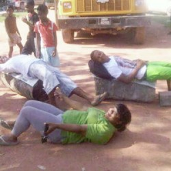 These protestors were lying across the road in Kwakwani yesterday.