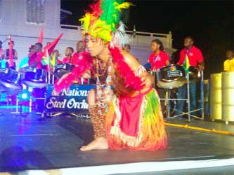 Mikel Andrews during a dance routine at Guyana Night